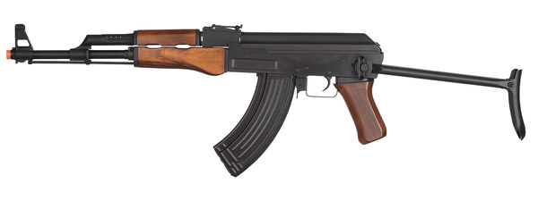 Description: LCK47S Full Metal AK47 Airsoft Rifle w/ Real Wood Grips & Folding Stock - left side view