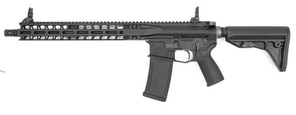 Description: KWA PTS Radian Model 1 Gas Blowback Airsoft Rifle, Black - left side view